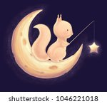 squirrel catch the stars for a... | Shutterstock . vector #1046221018