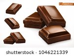 Chocolate Pieces. 3d Realistic...