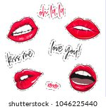 vector lips stickers. fashion... | Shutterstock .eps vector #1046225440