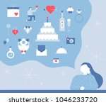 a woman who thinks about icons... | Shutterstock .eps vector #1046233720