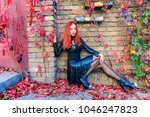 young red head gothic woman... | Shutterstock . vector #1046247823