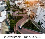Lomard street in San Francisco. Tourist attraction.