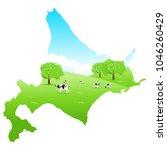 hokkaido cattle map ranch   Shutterstock .eps vector #1046260429
