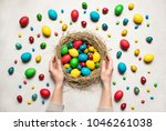 spring easter background.... | Shutterstock . vector #1046261038