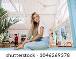 magnificent barefooted girl... | Shutterstock . vector #1046269378