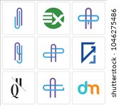 set of 9 simple editable icons... | Shutterstock .eps vector #1046275486