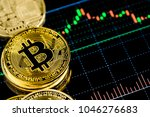 golden bit coins place on stock ... | Shutterstock . vector #1046276683