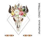 geometric watercolor floral... | Shutterstock . vector #1046279866