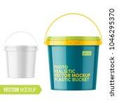 white glossy plastic bucket for ... | Shutterstock .eps vector #1046295370