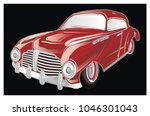 red classic car and black... | Shutterstock . vector #1046301043