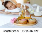 spa and massage elements  aroma ... | Shutterstock . vector #1046302429