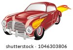 hot  red vintage car with fire | Shutterstock . vector #1046303806