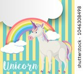 poster design with unicorn and... | Shutterstock .eps vector #1046308498
