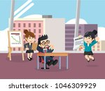 manager accept his employee's... | Shutterstock .eps vector #1046309929
