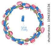 round garland with spring... | Shutterstock .eps vector #1046310136