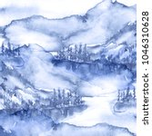 watercolor mountain landscape ... | Shutterstock . vector #1046310628