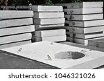 concrete drain pit block on... | Shutterstock . vector #1046321026