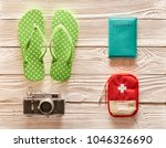 travel and beach items flat lay ... | Shutterstock . vector #1046326690