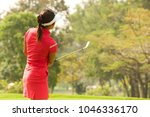 lady golfer are finished golf... | Shutterstock . vector #1046336170