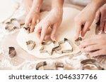 female and children's hands... | Shutterstock . vector #1046337766