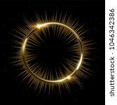 golden sparkling ring with rays ... | Shutterstock .eps vector #1046342386