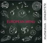 set of vector food elements.... | Shutterstock .eps vector #1046347570