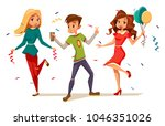 young teens dancing at party...   Shutterstock .eps vector #1046351026