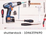 construction tooling on wooden... | Shutterstock . vector #1046359690