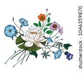 vector bouquet of garden... | Shutterstock .eps vector #1046359870