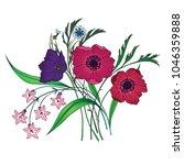 vector bouquet of garden... | Shutterstock .eps vector #1046359888