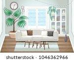 elegant living room. vector... | Shutterstock .eps vector #1046362966