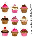cup cake set | Shutterstock .eps vector #104636873