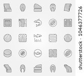 salmon icons set. vector... | Shutterstock .eps vector #1046377726