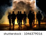 silhouette action soldiers walking hold weapons the background is smoke and light full color and white balance ship effect dark art style - stock photo