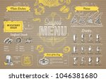 vintage seafood menu design on... | Shutterstock .eps vector #1046381680