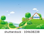 rural summer landscape with... | Shutterstock .eps vector #104638238