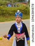 Small photo of Phonesavanh, Xiengkhouang/ Laos-18 Nov 2017: Hmong new year ceremony with beautiful cloth and trow the ball for find a lover