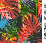 seamless tropical leaves and... | Shutterstock . vector #1046388130