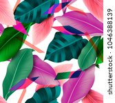 seamless tropical leaves and... | Shutterstock . vector #1046388139