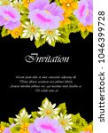 flower frame on black... | Shutterstock .eps vector #1046399728