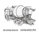 sketch of concrete mixer vector | Shutterstock .eps vector #1046400190