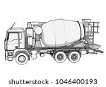 sketch of concrete mixer vector | Shutterstock .eps vector #1046400193