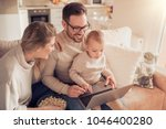 portrait of a joyful family... | Shutterstock . vector #1046400280