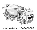 sketch of concrete mixer vector | Shutterstock .eps vector #1046400583