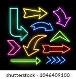 neon glowing arrow pointer set  ... | Shutterstock .eps vector #1046409100