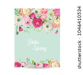 hello spring floral card for... | Shutterstock .eps vector #1046410534