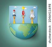 rockets launch on eco green...   Shutterstock .eps vector #1046411698
