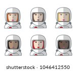 set of six female avatar... | Shutterstock .eps vector #1046412550