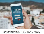 on line banking app in a mobile ... | Shutterstock . vector #1046427529