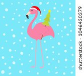 pink flamingo with wing holding ... | Shutterstock .eps vector #1046430379